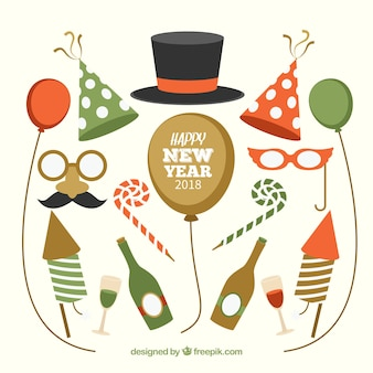 レトロ、ヴィンテージ、新年、パーティー、要素、コレクション