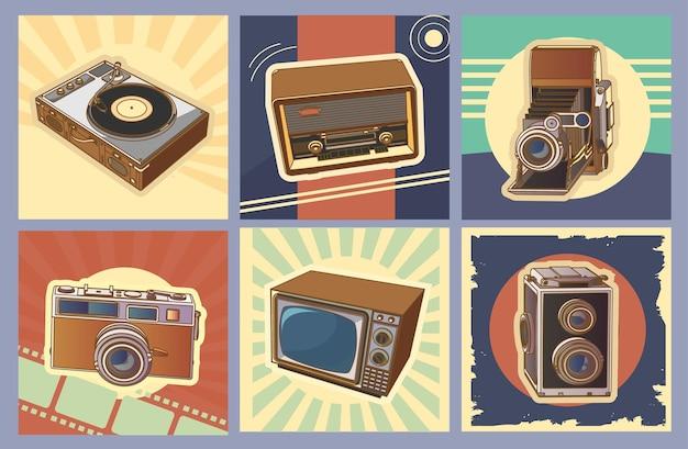 레트로 기기, 빈티지 기계 세트입니다. 복고풍 빈티지 라디오, tv, 사진 카메라, 빈티지 디자인의 턴테이블 비닐 레코드 카드가 있는 컬렉션입니다. 3d 디자인, 벡터 일러스트 레이 션, 벡터입니다.