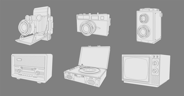 레트로 가전 제품, 빈티지 기계 세트. 레트로 빈티지 라디오, tv, 사진 카메라, 턴테이블 비닐 레코드 컬렉션이있는 색칠 페이지.