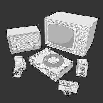 レトロな電化製品、ヴィンテージの機械のセット。レトロなビンテージラジオ、テレビ、フォトカメラ、ターンテーブルのビニールレコードのコレクションでページを着色します。