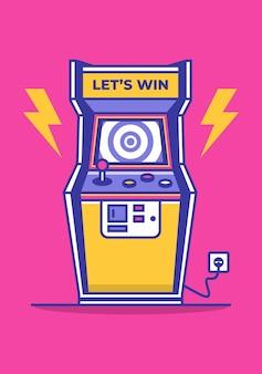 레트로 아케이드 게임기 벡터 아이콘 그림 오래 된 비디오 게임