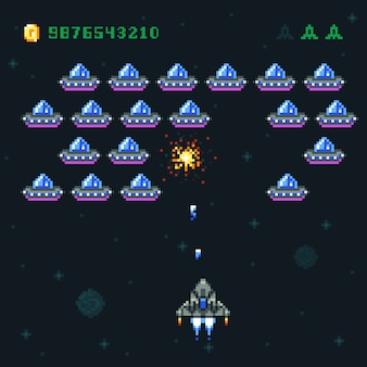 픽셀 침략자와 우주선 레트로 아케이드 게임 화면. 우주 전쟁 컴퓨터 8 비트 오래 된 벡터 그래픽. 게임 비디오 아케이드, 우주선 및 로켓 디지털 픽셀 그림