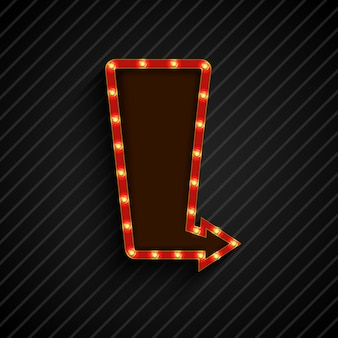 Retro arrow light billboard banner black background