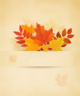 Retro autumn background with colorful leaves.