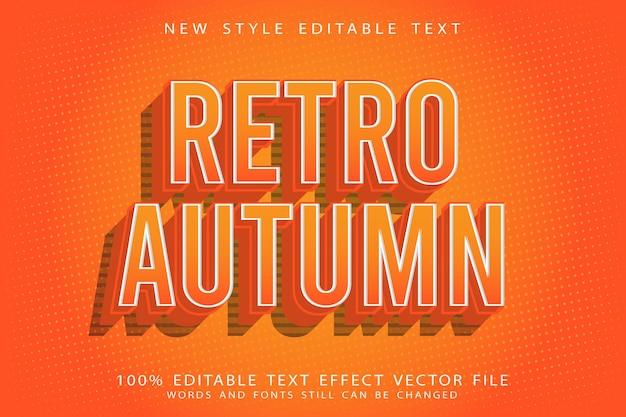 Ретро осенний редактируемый текстовый эффект с тиснением в винтажном стиле