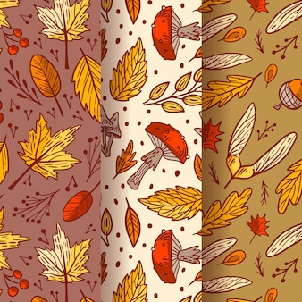 Retro autumn pattern collection
