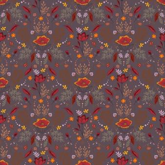 ベリースパインコーンナッツの花の枝と葉のシームレスなベクトルとレトロな秋のパターン