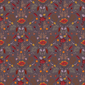 Retro autumn pattern with berriespine conenutsflowers branches and leaves seamless vector