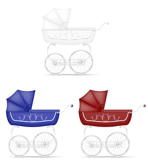 Retro baby carriage vector illustration