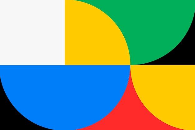 레트로 배경 바우하우스 벽지, 화려한 기본 색상 벡터
