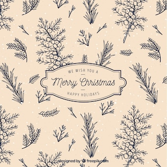 Retro background of christmas branches