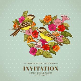 Ретро-фон цветы и птицы