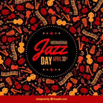 Retro background of international jazz day musical instruments