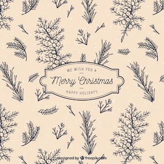 Ретро фон рождественских ветвей