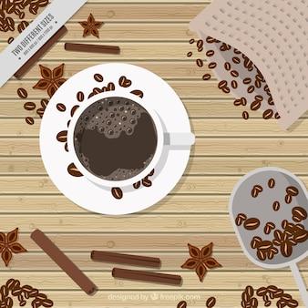 상위 뷰에서 커피와 커피 콩의 레트로 배경