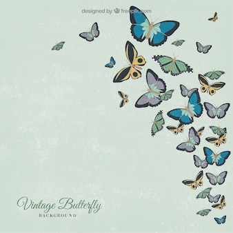 Retro background of hand-drawn butterflies