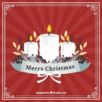 Retro background of white christmas candles