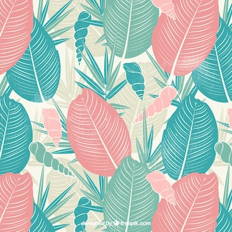 Retro background of palm leaves and hand drawn conch