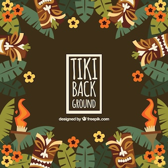 Retro background of tiki masks with leaves