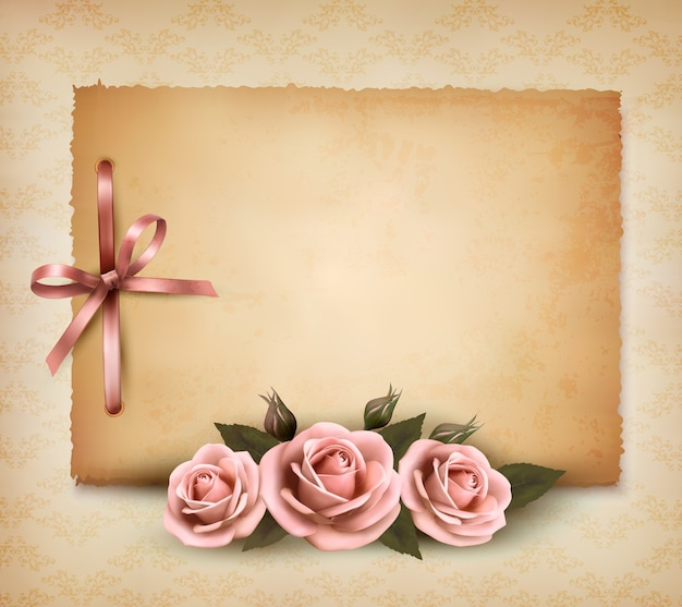 Retro background with beautiful pink rose and old paper