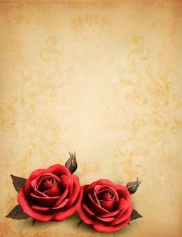 꽃 봉 오리와 아름 다운 붉은 장미와 레트로 배경