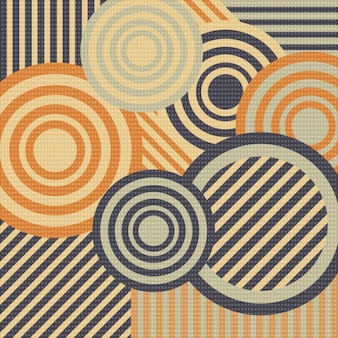 Retro background with circles and stripes