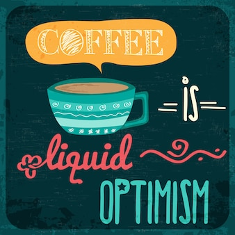 コーヒーの引用符付きのレトロ背景