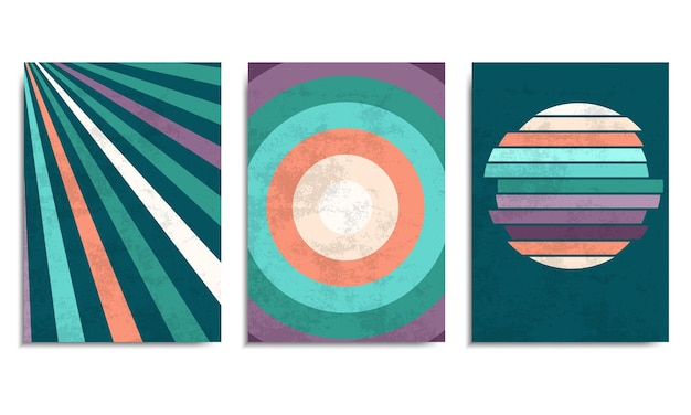 Retro background with colorful stripes and vintage grunge texture