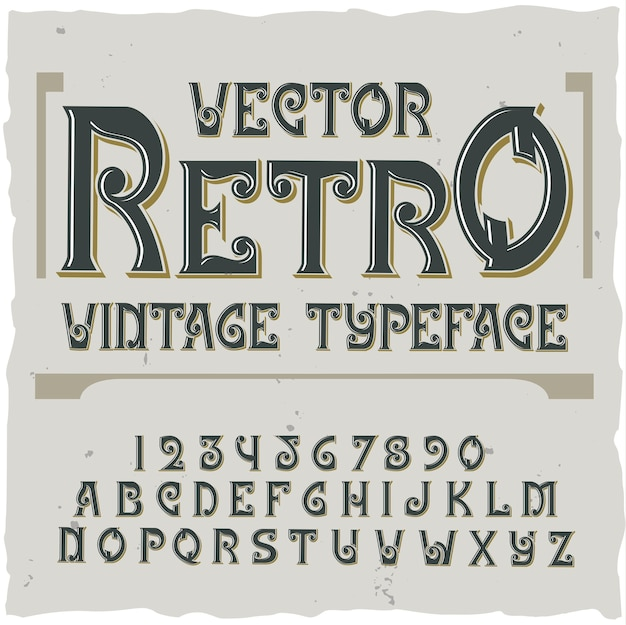 Retro background with editable ornate text label with  font digits and letters  illustration