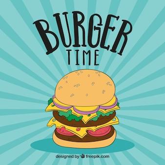 Retro background with hand drawn hamburger
