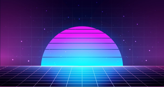Retro background with laser grid, abstract landscape with sunset and star sky.