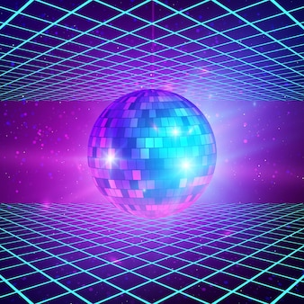 Retro background with laser rays and mirror ball