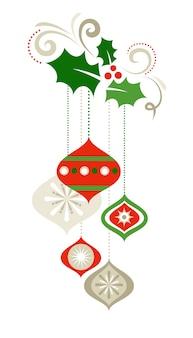 ヤドリギとクリスマスツリーの装飾とレトロな背景。バナー、ポスター、グリーティングカードのベクトルテンプレート