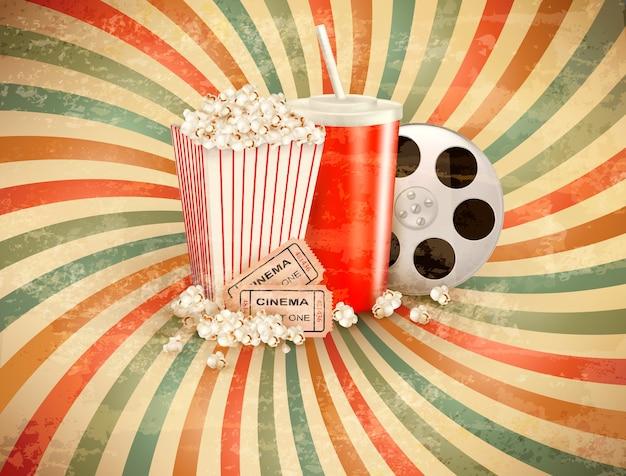 Ретро-фон с попкорном и напитком