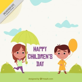 Retro background with umbrella girl and boy with balloon