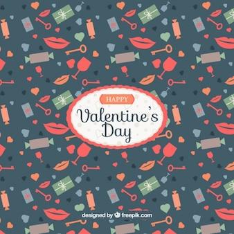 Retro background with valentine elements