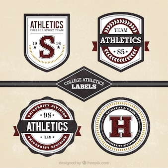 Retro badges for college sports
