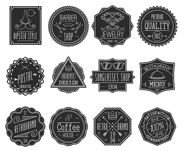 Retro badges set