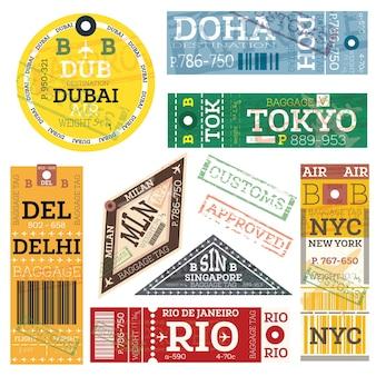 レトロな手荷物タグ。ベクトルイラスト。ドバイ、ドーハ、東京、デリー、ミラノ、シンガポール、ニューヨーク、リオデジャネイロの荷物ラベル。