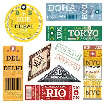 Retro baggage tags. vector illustration. luggage label from dubai, doha, tokyo, delhi, milan, singapore, new york and rio de janeiro.