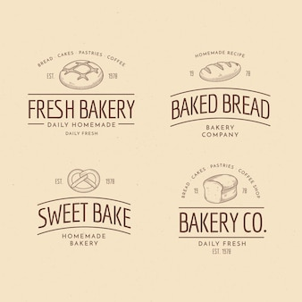 Retro bakery logo collection