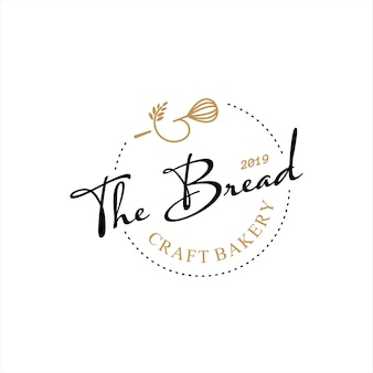 Retro bakery logo design bake and cake pastry