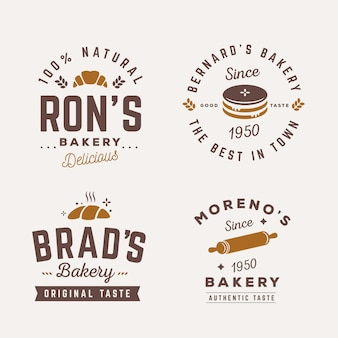 Retro bakery logo template collection