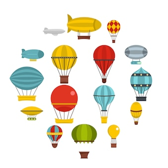 Retro balloons aircraft icons set in flat style