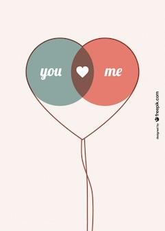 Retro Balloons Couple Symbol Card Design