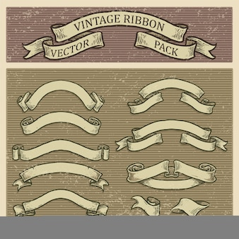 Retro banner  set, vintage ribbon collection