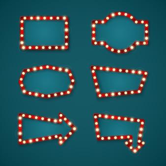 Ретро знамя знаки установили шаблон с пространством для текста. вывески геометрической формы для казино и стрелки.
