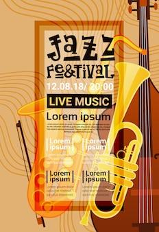 ジャズフェスティバルライブミュージックコンサートポスター広告retro banner