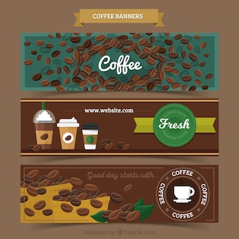 Retro banners of coffee beans