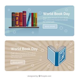 フラットなデザインの本とレトロなバナー